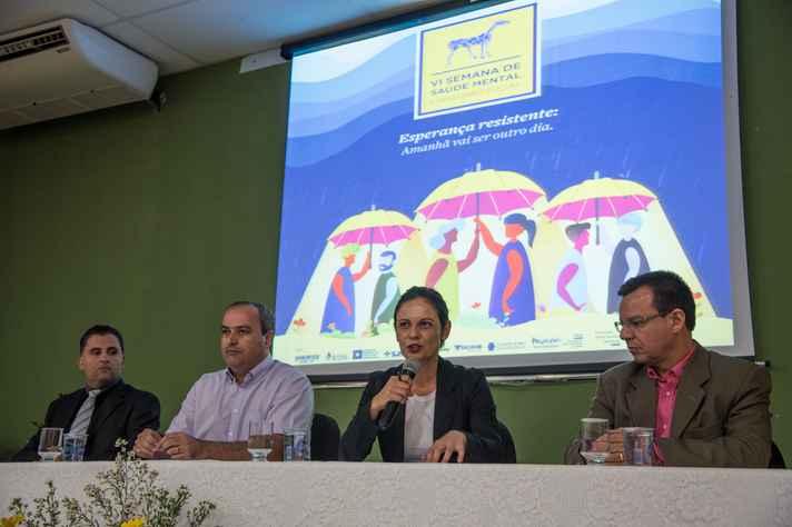 Leonardo Felix, Leonardo Tuffi, Claudia Myorga e Paulo Nascimento na abertura do evento em Montes Claros