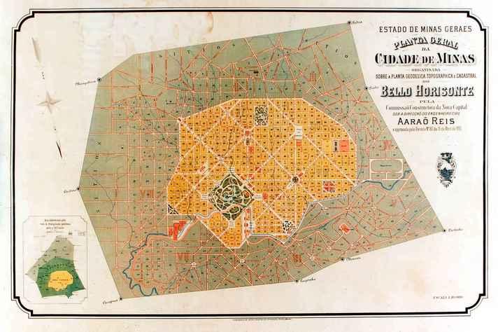 Planta da então Cidade de Minas, mais tarde chamada de Belo Horizonte, elaborada por Aarão Reis