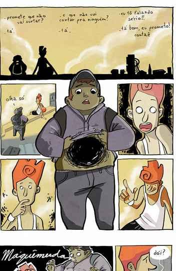 Páginas de Achados e perdidos, primeiro álbum de quadrinhos publicado por crowdfunding