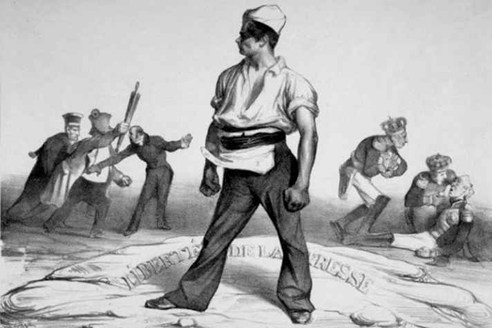 Ne vous y frottez pas, Gravura 20, de L'Association mensuelle, publicada em junho de 1834: Daumier resistiu à censura na França