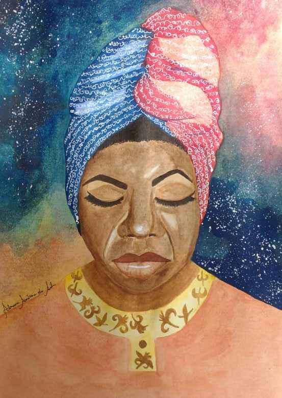 Obra 'Nina Simone', uma aquarela sobre papel, lembra a cantora e ativista pelos direitos dos negros nos Estados Unidos