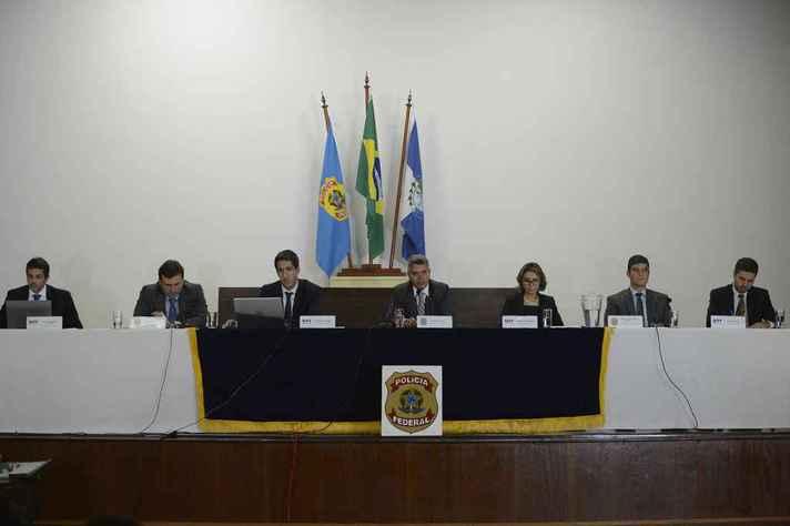 Integrantes da PF e do Ministério Público Federal falam à imprensa sobre prisão do ex-presidente Michel Temer e o ex-ministro Moreira Franco
