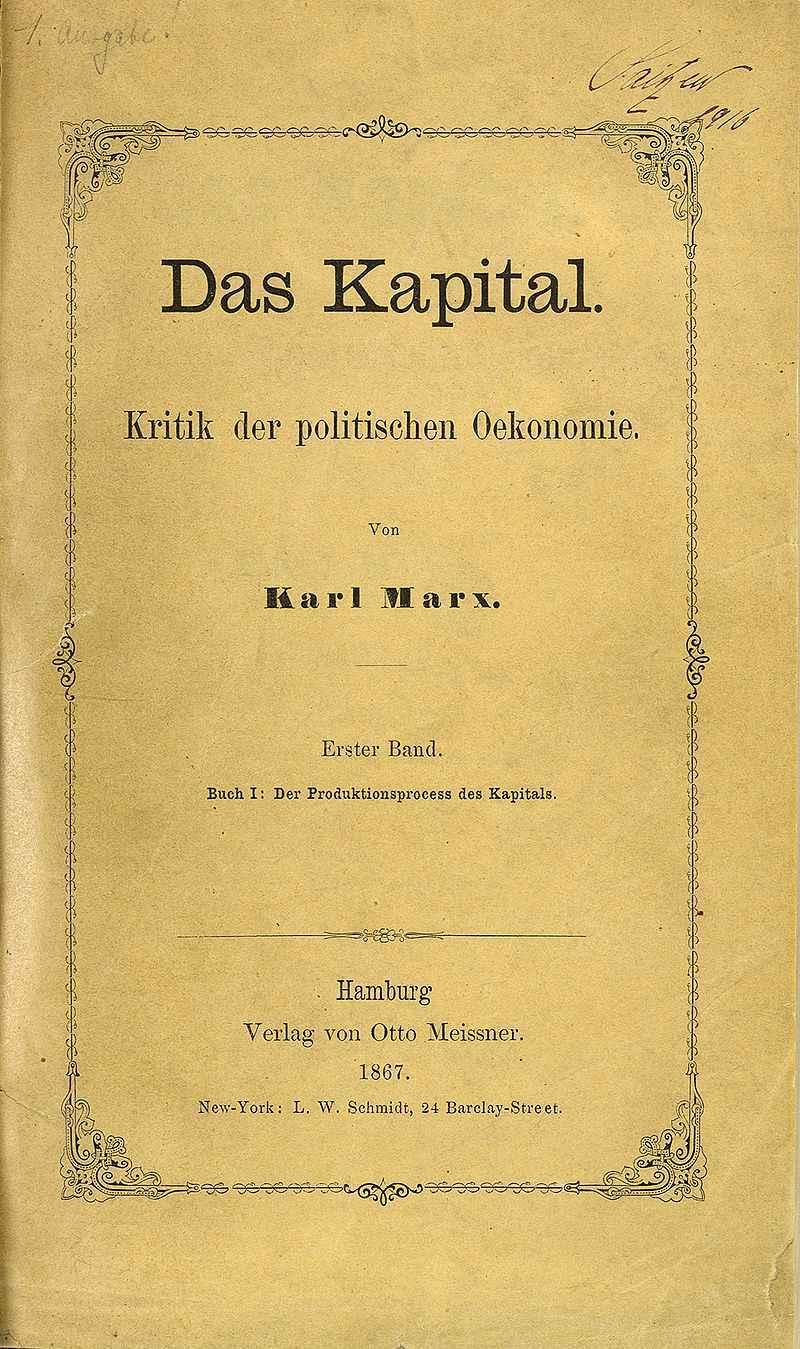 Capa da primeira edição de 'O capital', publicada em 1867)