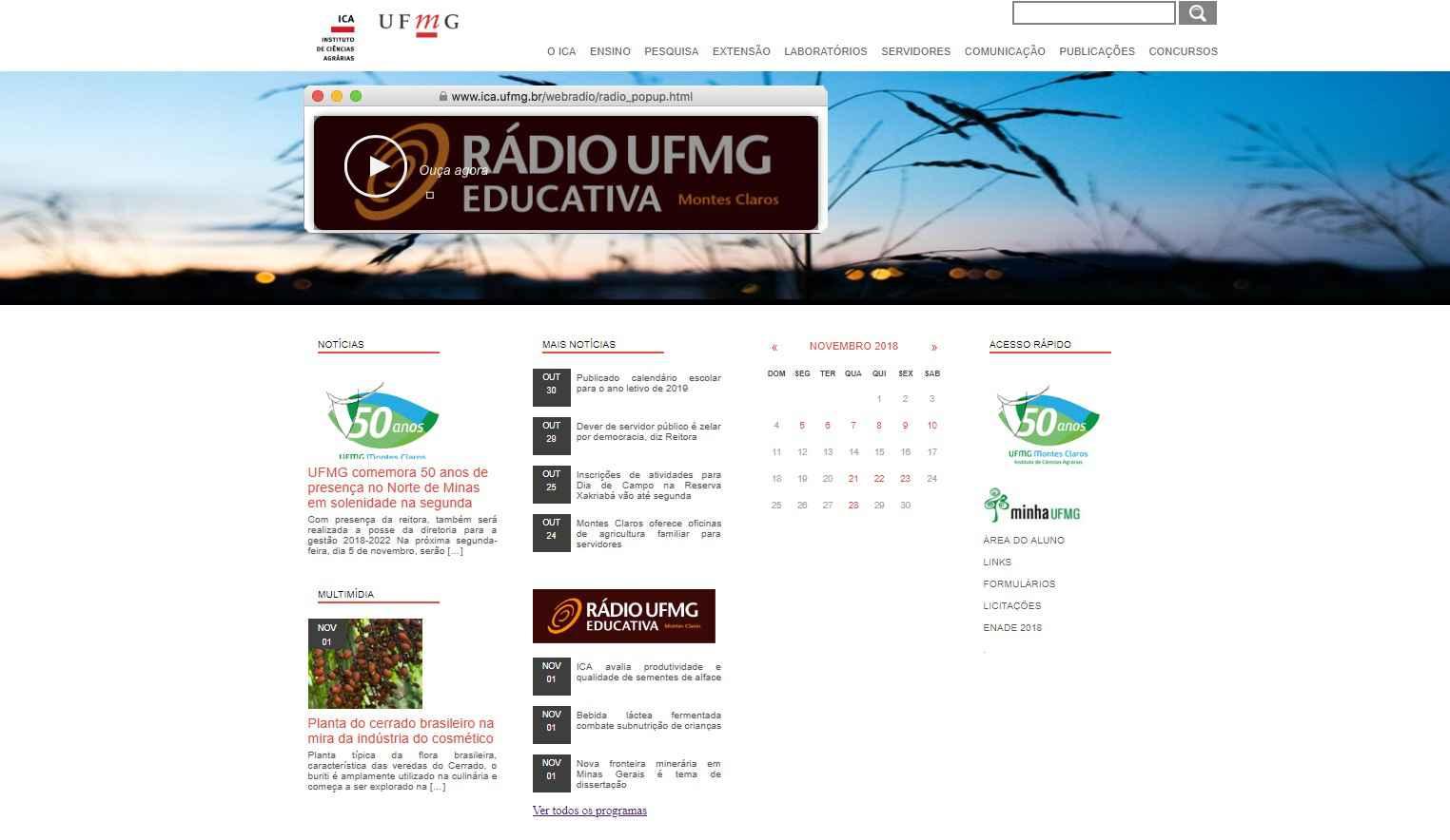 Página da webrádio: