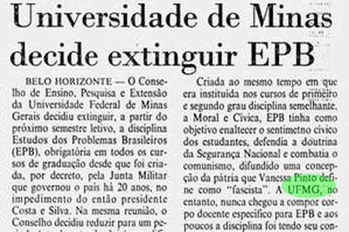"""""""Universidade de Minas decide extinguir EPB"""", mancheta o Jornal do Brasil em 1989."""