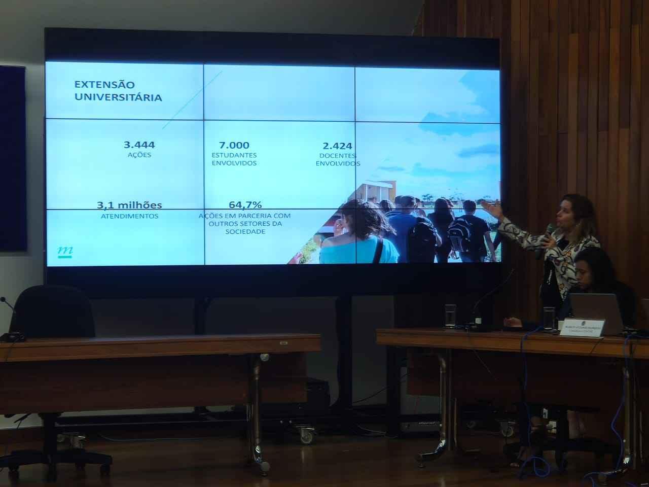 Reitora Sandra Goulart Almeida apresentou números de produção da UFMG em reunião do CNE