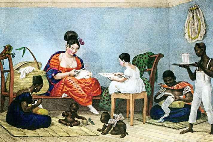 Uma senhora brasileira em seu lar, de Jean-Baptiste Debret (1823): ambiente familiar também era dedicado ao letramento