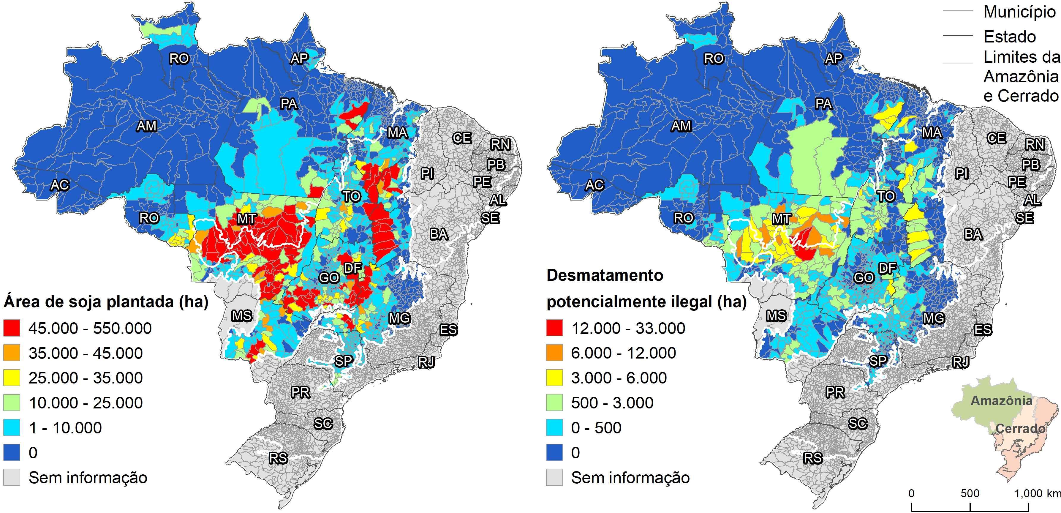 Cores nos mapas indicam áreas da cultura da soja que podem estar ilegais