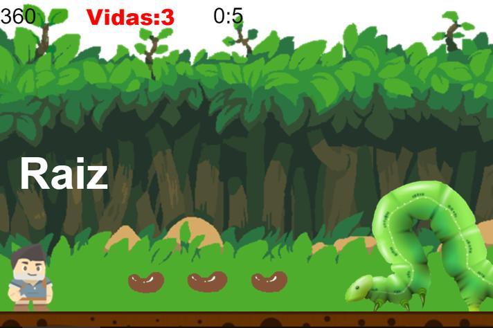 O jogador ajuda o personagem Andinho a recuperar os feijões e enfrentar os desafios do caminho