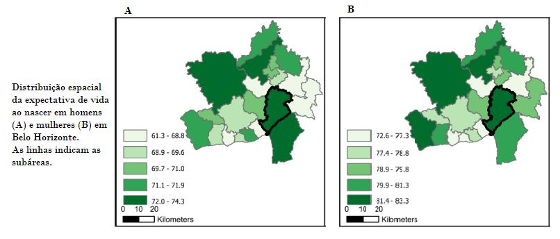 Gráfico demonstra as faixas de expectativa de vida distribuídas pelas regionais de Belo Horizonte