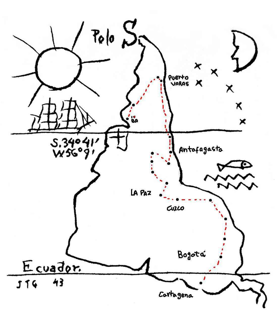Mapa invertido, idealizado pelo pintor uruguaio Joaquín Torres García: importância de olhar a América de uma outra maneira