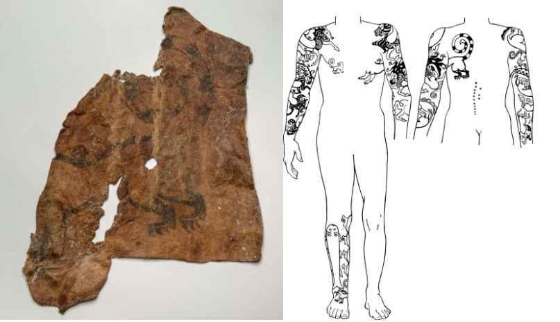 Pele de múmia Cita (à esquerda) e desenho de múmia