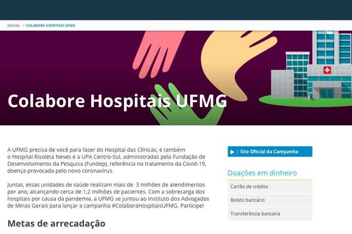 Lançamento das páginas na internet busca assegurar transparência à campanha. O acesso à página da UFMG é pelo endereço ufmg.br/colaborehospitais
