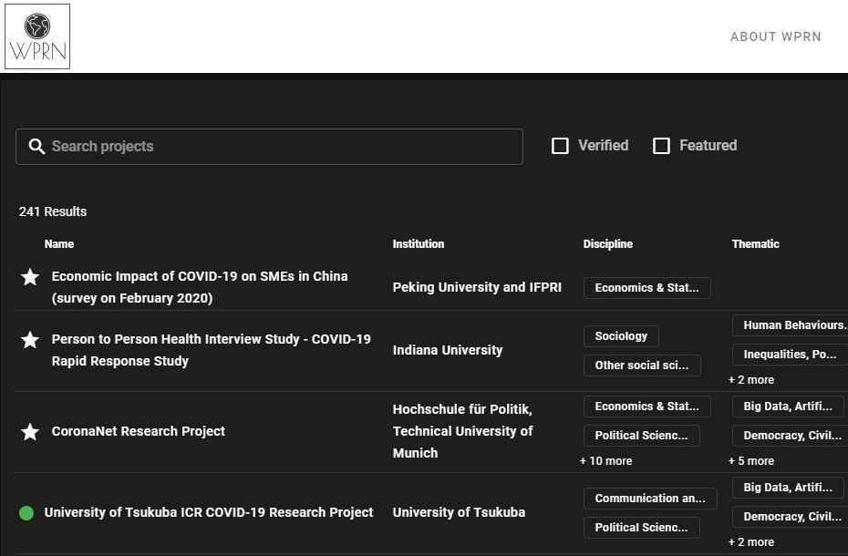 Plataforma permite que os usuários vejam o nome do estudo, a instituição, temática, entre outros