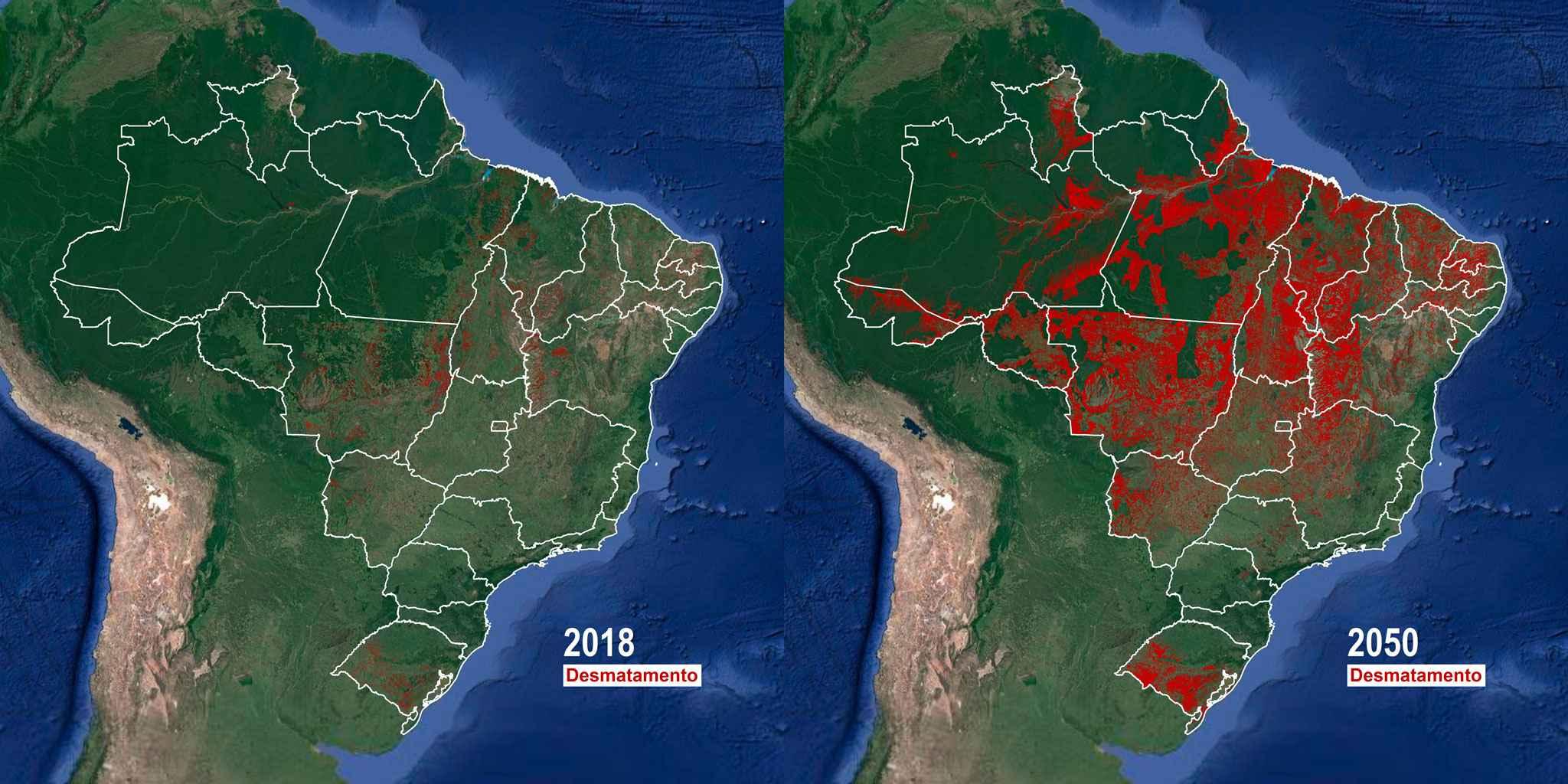 Mapas mostram evolução do desmatamento de 2018 a 2050