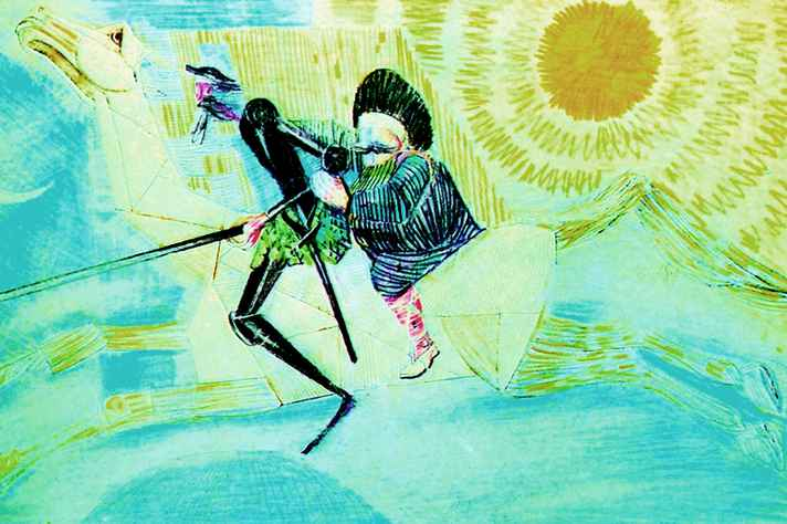 Desenho de Portinari que retrata cena de Dom Quixote