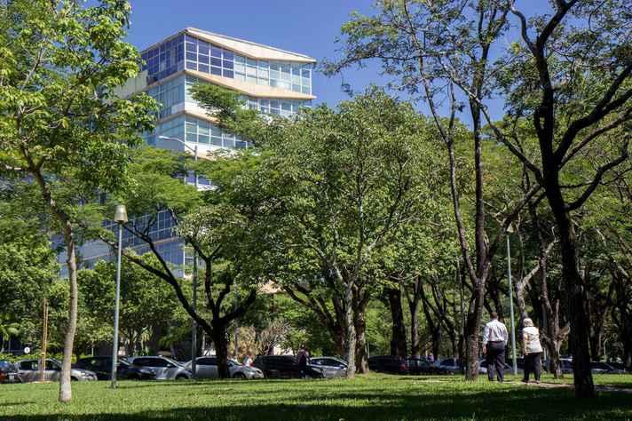 Vista parcial do prédio que abriga Reitoria da UFMG