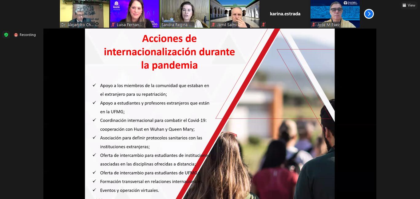 Trecho da apresentação em que a reitora listou algumas ações de internacionalização desenvolvidas pela UFMG durante a pandemia