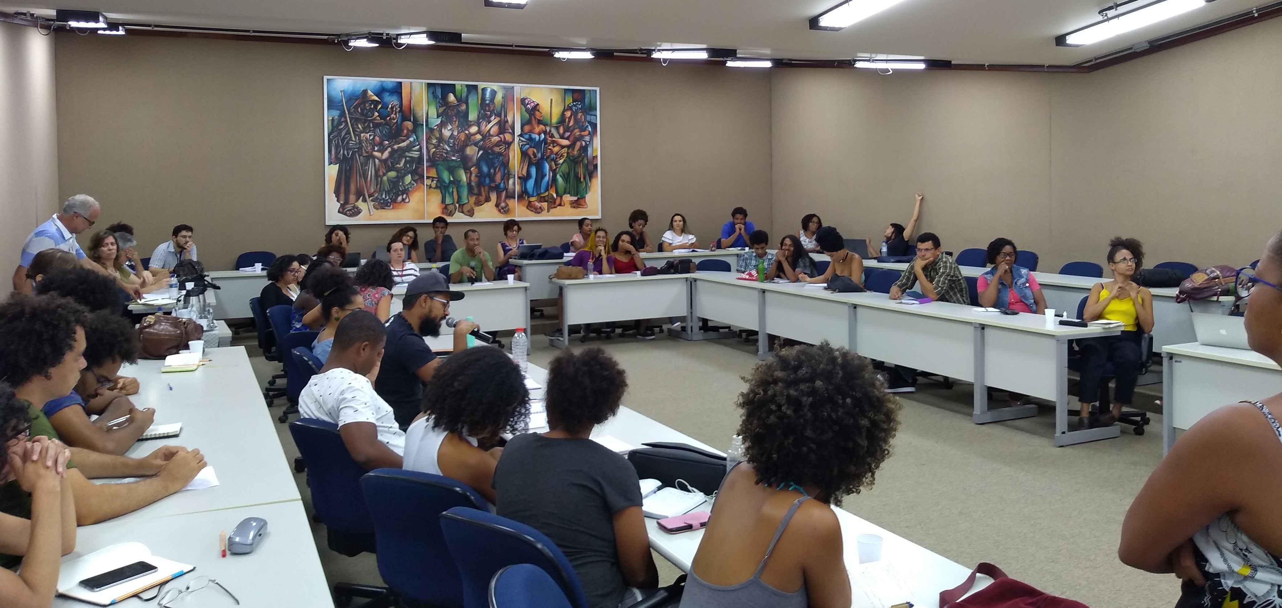 Reunião para formação de pessoas que atuaram em comissão complementar à autodeclaração realizada em 2019, na Sala de Sessões do Conselho Universitário