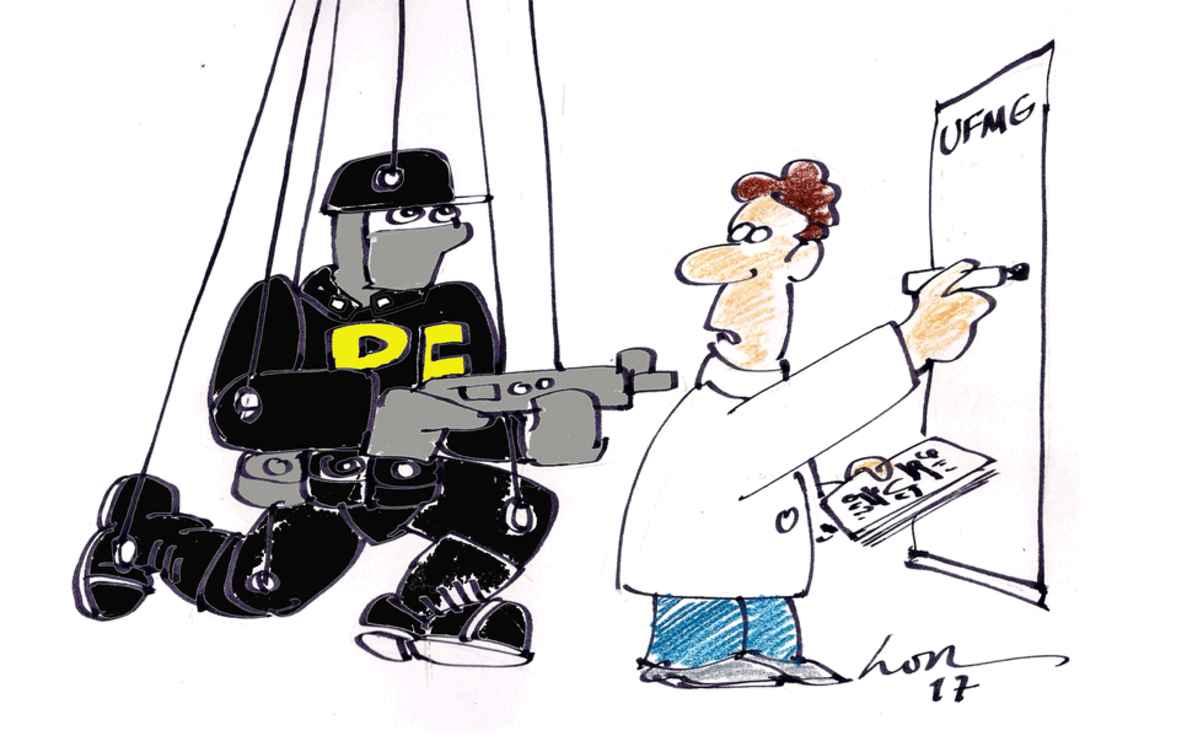 Autor desta charge, o cartunista LOR colaborou com o BOLETIM de 1988 a 1997