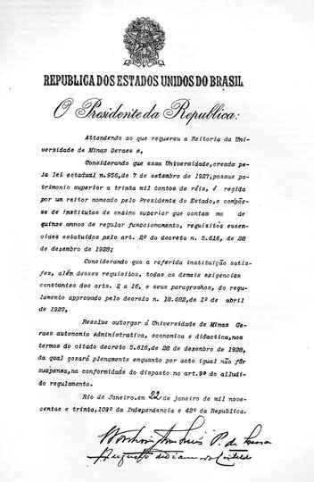 Decreto de 22 de janeiro de 1930 que concedeu autonomia plena à então Universidade de Minas Gerais.