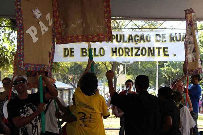 Ato em favor da população de rua do qual participou o programa Polos de Cidadania, integrante da Rede