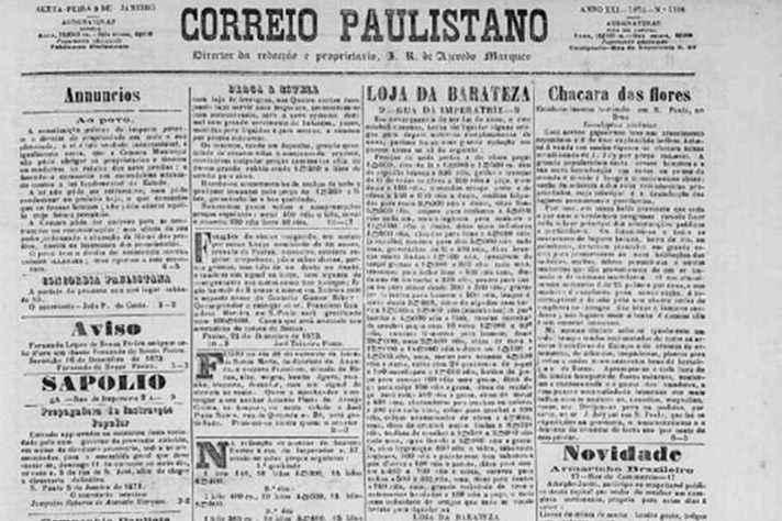 Edição do Correio Paulistano, que defendia a política escravista