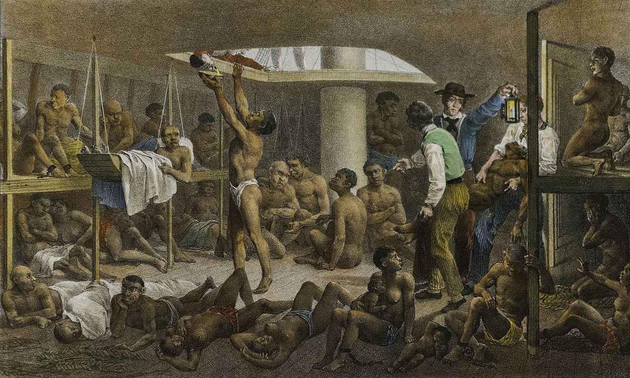 Obra 'Navio negreiro', de 1830, do alemão Johann Moritz Rugendas, que retrata o transporte de pessoas escravizadas para o Brasil em condições precárias