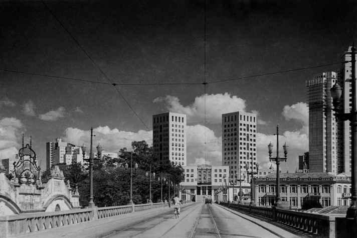 Viaduto Santa Teresa, com o Edifício Sulacap/Sulamérica ao fundo, em Belo Horizonte, em 1949: fotografia é uma das recompensas exclusivas da campanha