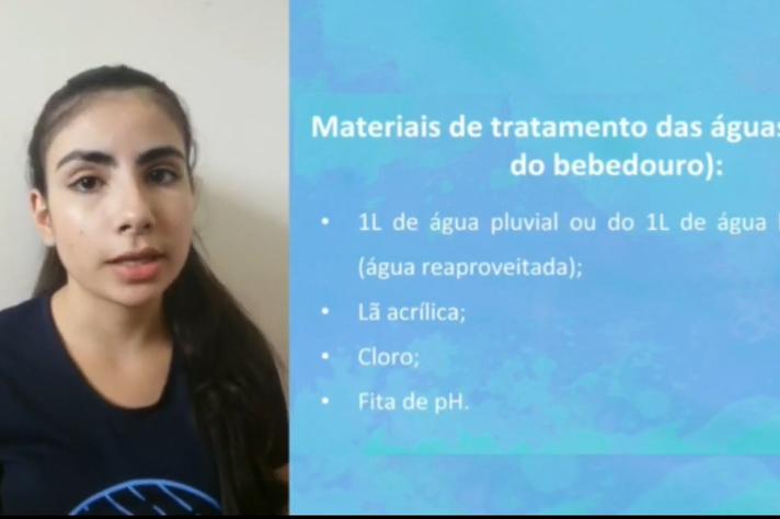 Na primeira edição virtual, Fabiana Borges Ribeiro, aluna da Escola Estadual Newton Ferreira de Paiva, de Santo Antônio do Amparo (MG), apresentou sua proposta de kit sustentável para reutilização e tratamento de água (Reprodução YouTube)