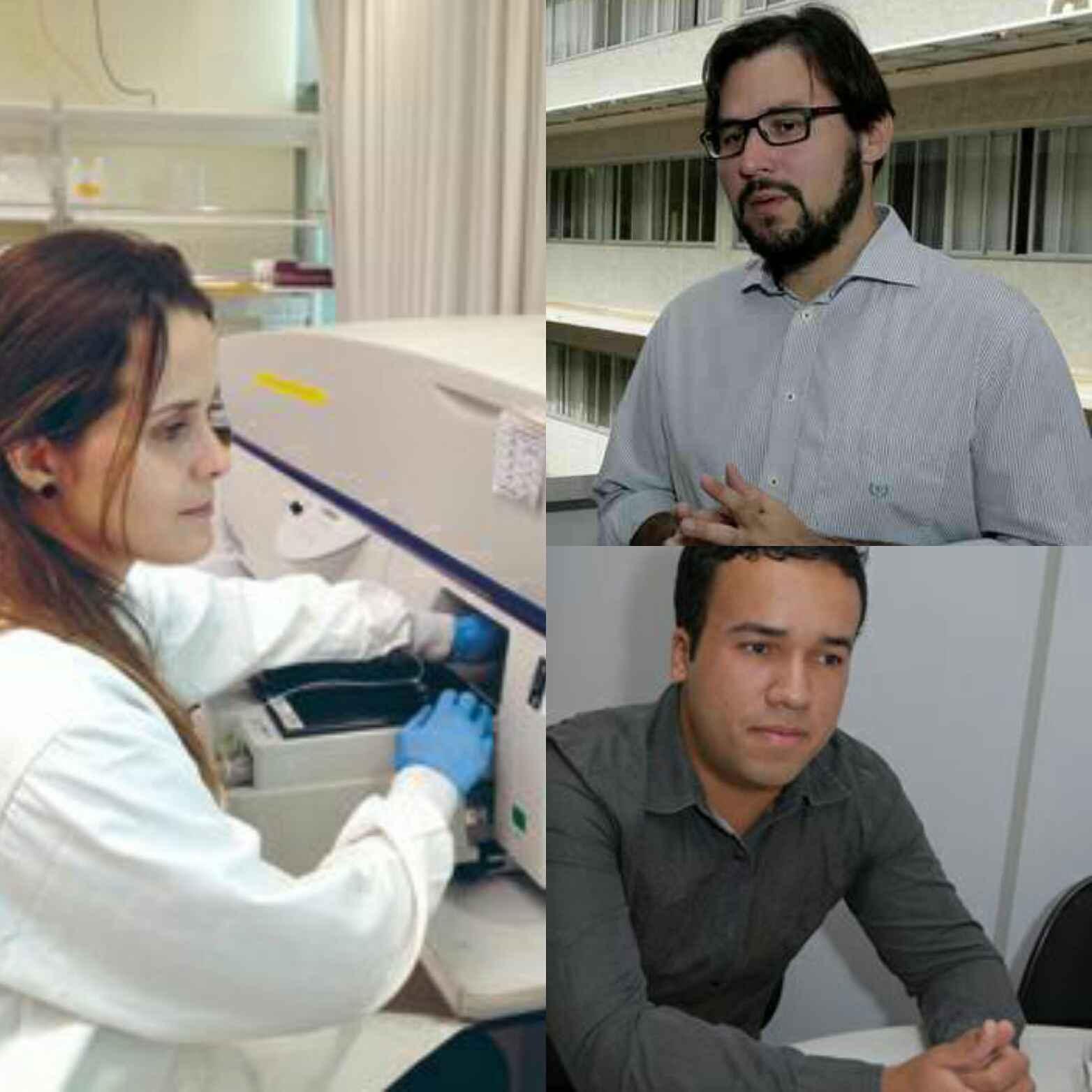 Vivan Costa, Raoni Rajão (alto) e Renan Pedra: ciências biomédicas e da engenharia