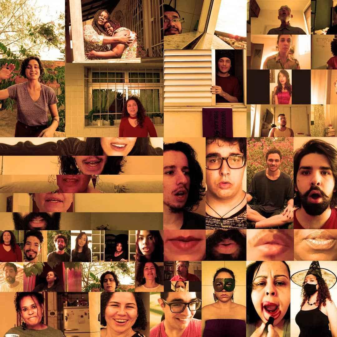 Fotomontagem com integrantes do Coral da Fale durante o isolamento social