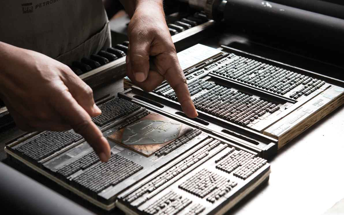 Tipos preservados no Museu Tipografia Pão de Santo Antônio, em Diamantina