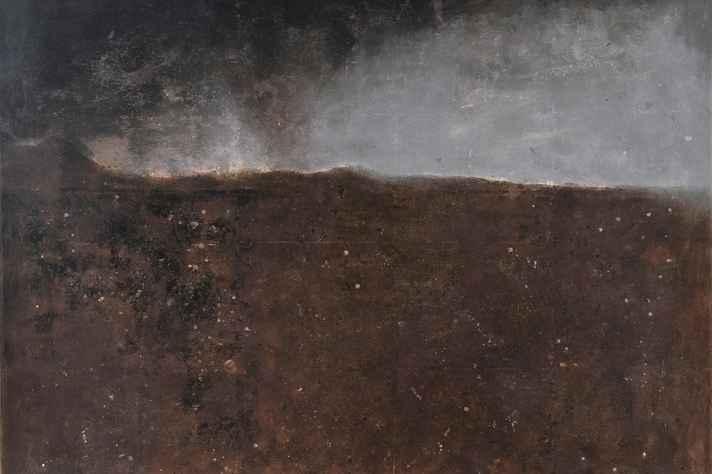 Paulo Miranda, Pintura em técnica mista (pigmento natural e colagem) sobre lona